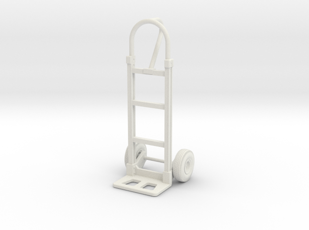 1:18 Scale 2-Wheel Dolly/Hand Truck in White Natural Versatile Plastic