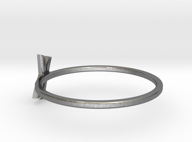 Letter K Ring in Polished Silver: 7 / 54