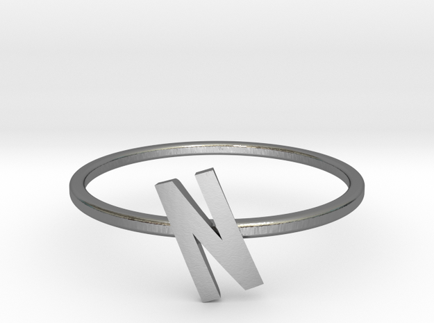 Letter N Ring in Polished Silver: 7 / 54
