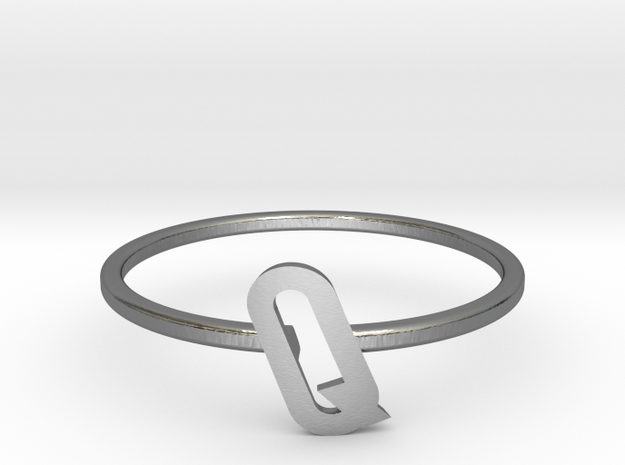 Letter Q Ring in Polished Silver: 7 / 54