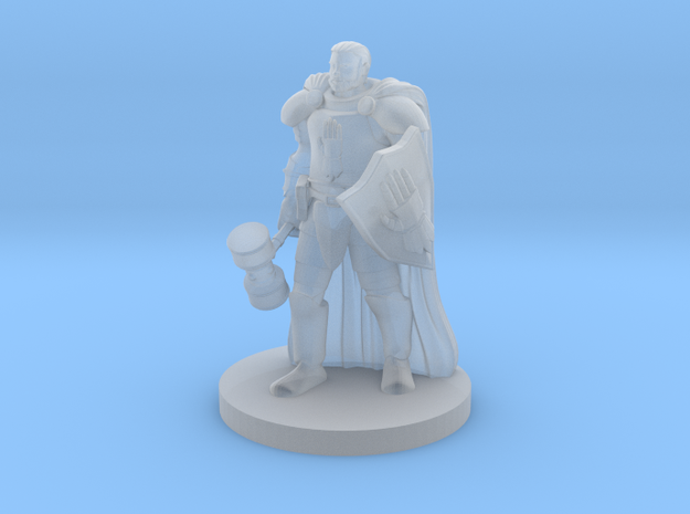 Human Male Cleric with War Hammer in Smooth Fine Detail Plastic
