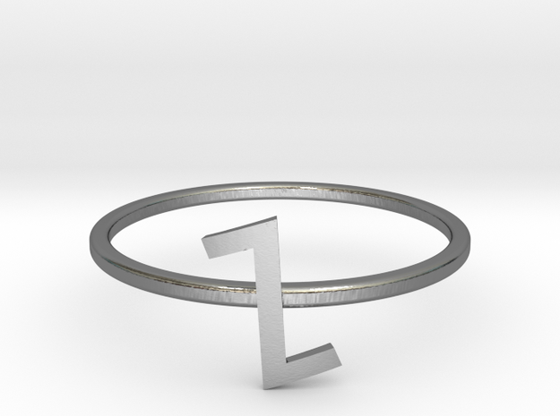 Letter Z Ring in Polished Silver: 7 / 54