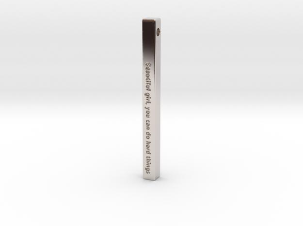 "Vertical Bar Customized Pendant ""Beautiful girl yo in Rhodium Plated Brass"