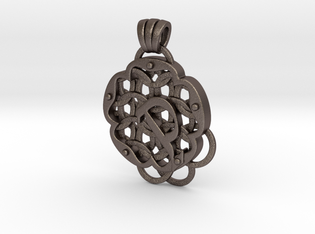 Chain Mail Pendant P in Polished Bronzed-Silver Steel