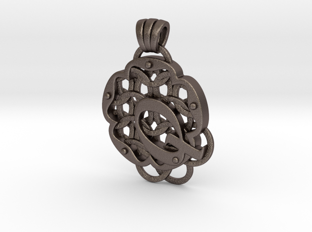 Chain Mail Pendant Q in Polished Bronzed-Silver Steel