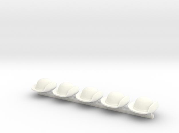 5 x American Revolution Naval Hat in White Processed Versatile Plastic