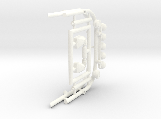 1/25 ROLL BAR ASSY in White Processed Versatile Plastic