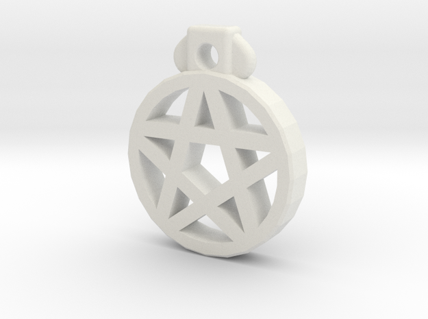 Pentagram Pendant in White Natural Versatile Plastic