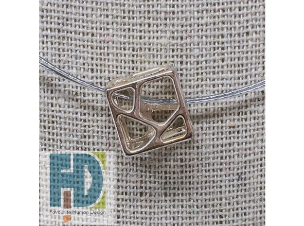 Voronoi Cube Pendant | 10mm in Polished Silver