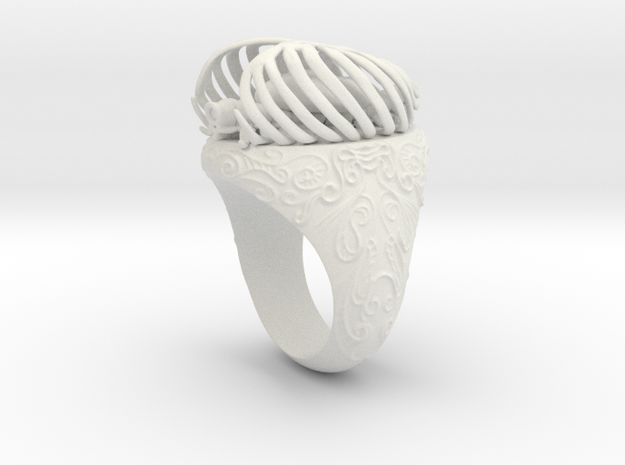 """""""My Beloved"""" Ribcaged Heart Ring in White Natural Versatile Plastic"""
