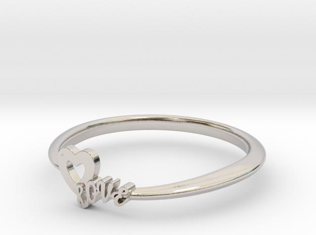 KTFRD01 Heart LOVE Fancy Ring design in Rhodium Plated Brass