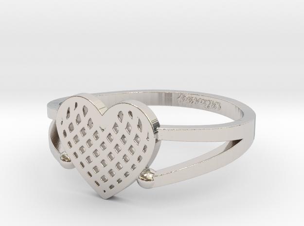 KTFRD04 Filigree Heart Geometric Ring design 3D Pr in Rhodium Plated Brass