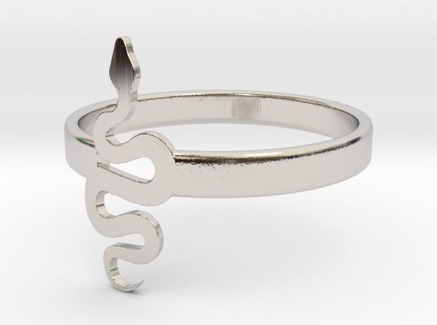 KTFRD05 Filigree Snake Geometric Ring design 3D Pr in Rhodium Plated Brass