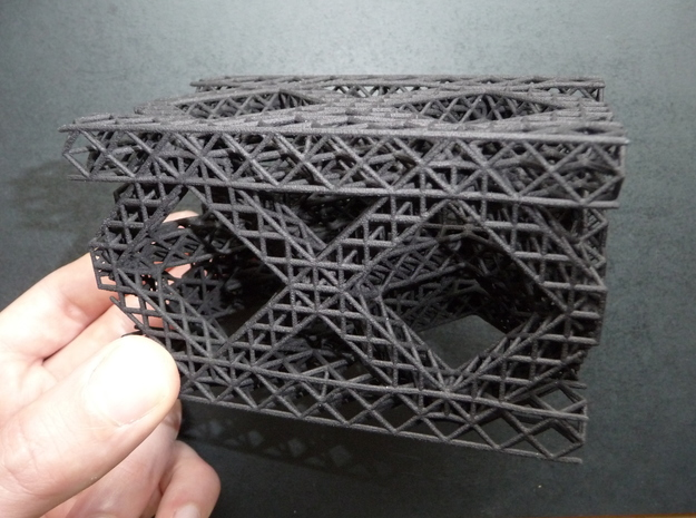 Square Fractal Truss in Black Natural Versatile Plastic