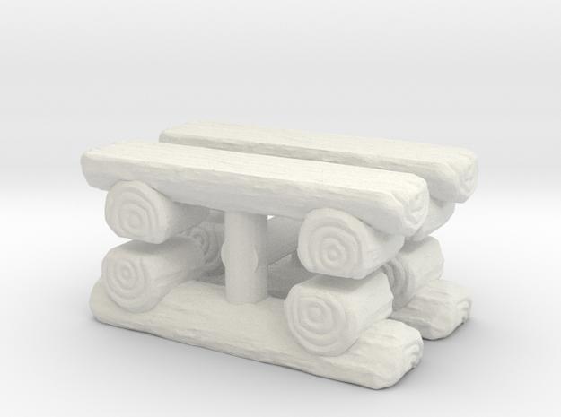 Log Bench (x4) 1/24 in White Natural Versatile Plastic