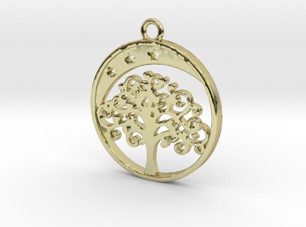 Life Tree, Moon & Stars Pendant in 18k Gold