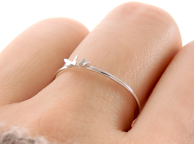 Twin Butterfly Ring (Multiple Sizes) in Polished Silver: 6 / 51.5