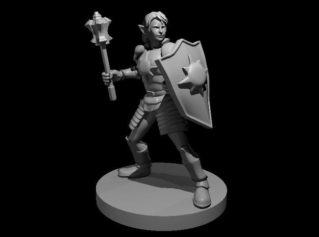 Elven Female Light Cleric with Mace and Shield in Smooth Fine Detail Plastic