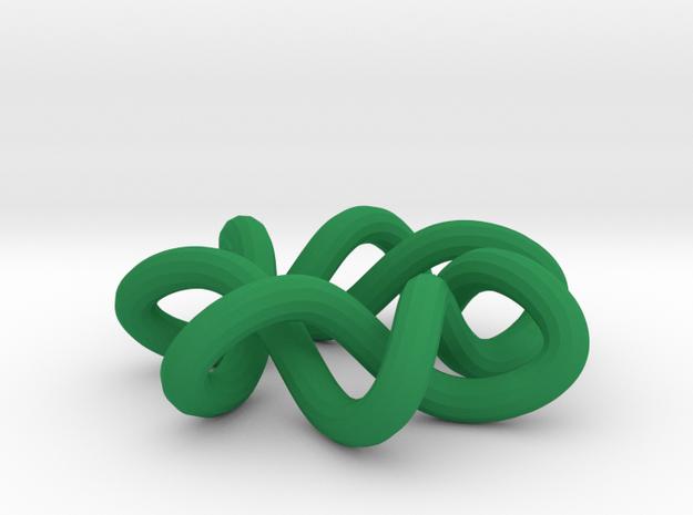 Ornament Torus Knot 7 -1 in Green Processed Versatile Plastic