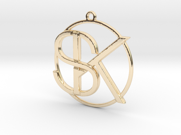 K&S Monogram Pendant in 14k Gold Plated Brass