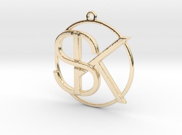 K&S Monogram Pendant in 14k Gold Plated Brass