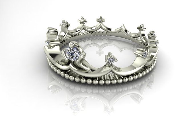 Crown ring Princess 2 NO STONES SUPPLIED in Fine Detail Polished Silver