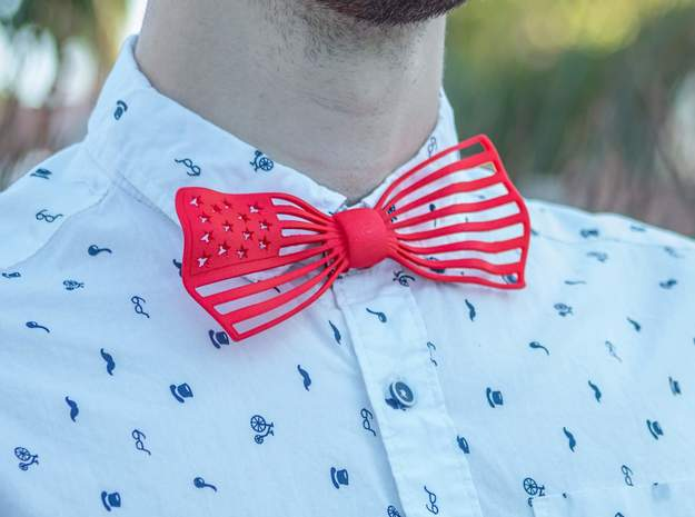 The Flag Bow Tie in Red Processed Versatile Plastic