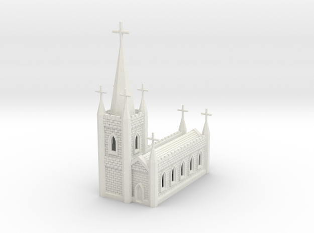 N Scale Church Cathedral 1:160 in White Natural Versatile Plastic
