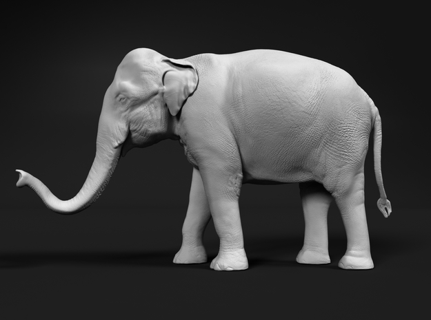 Indian Elephant 1:48 Standing Female 2 in White Natural Versatile Plastic