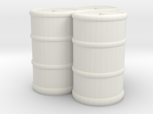 Oil Drums (3) in White Natural Versatile Plastic