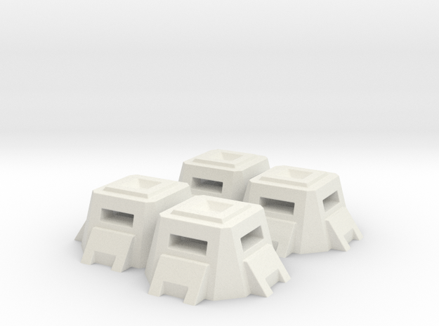 Bunker Pill Box (6mm Scale, set of 4) in White Natural Versatile Plastic