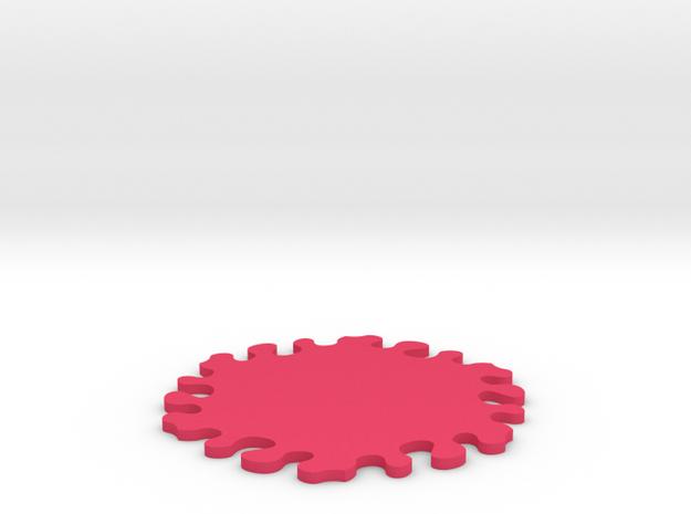 Drink Coaster - Jigsaw Interlocking - Splat Design in Pink Processed Versatile Plastic