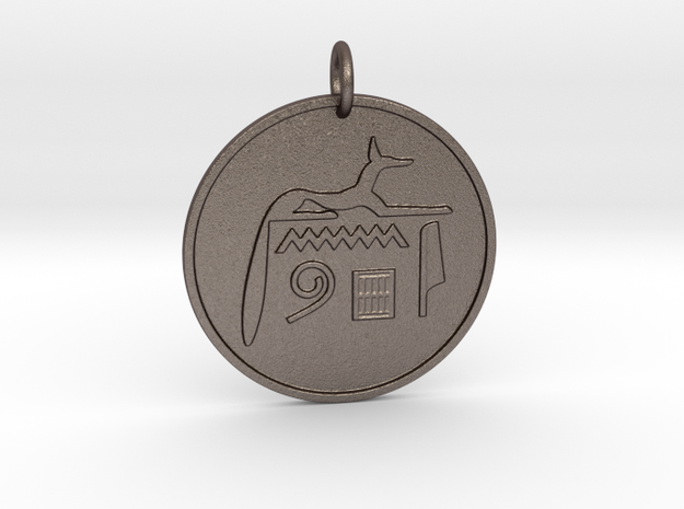 """2"""" Anup/Anubis Coin amulet in Polished Bronzed-Silver Steel"""