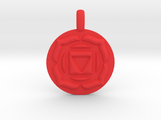BASE ROOT Chakra Muladhara Symbol Pendant in Red Processed Versatile Plastic