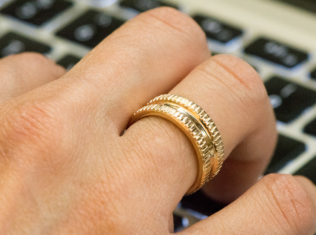 Triple Band iXi Ring Size 6 in Polished Bronze