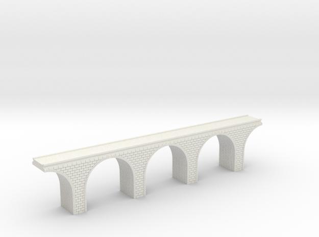 N Scale Arch Bridge Triple Single Track 1:160 in White Natural Versatile Plastic