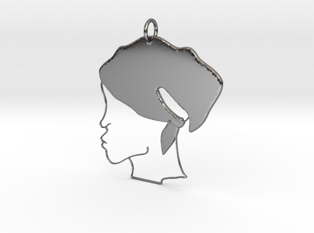 Scarf Head Poured Outline Pendant in Fine Detail Polished Silver: Medium