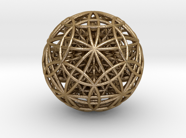 "IcosaDodecasphere w/ FOL Stel. Icosahedron 4"" in Polished Gold Steel"