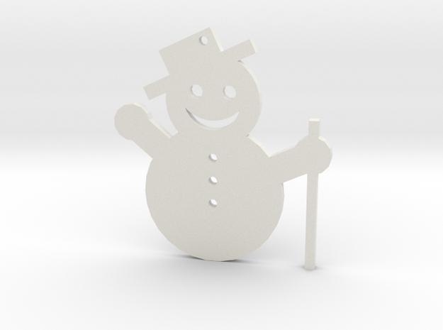 Snowman Tree Ornament in White Natural Versatile Plastic