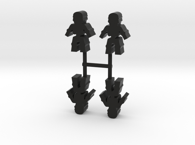 Skeleton Meeple, 4-set in Black Natural Versatile Plastic