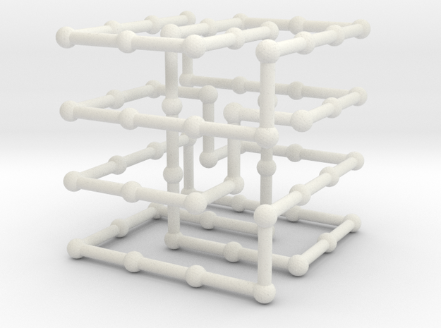 Cinquefoil knot in grid in White Natural Versatile Plastic