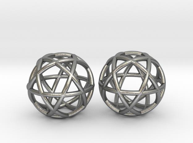 Penta Sphere 2 beads in Natural Silver