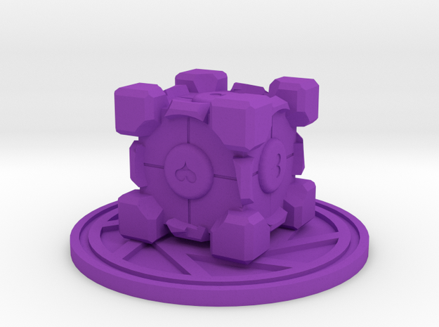 Portal Companion Cube Figurine in Purple Processed Versatile Plastic