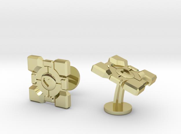 Portal ® Companion Cube Cufflinks in 18k Gold Plated Brass