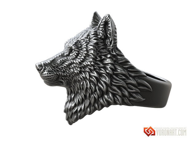 Proud Wolf animal head ring jewelry in Natural Brass: 10 / 61.5