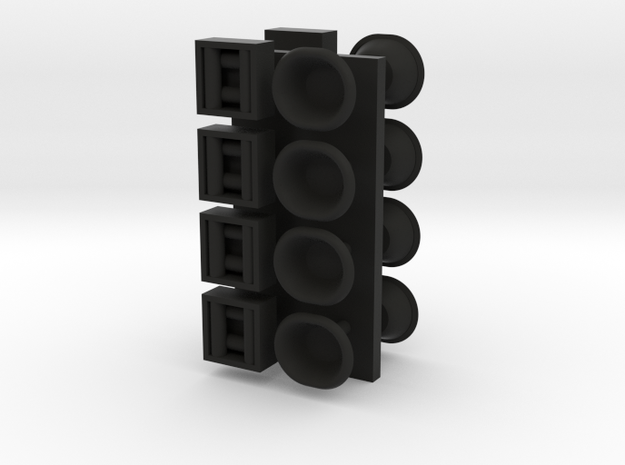 1/96 scale Cap and bollards in wall set in Black Natural Versatile Plastic
