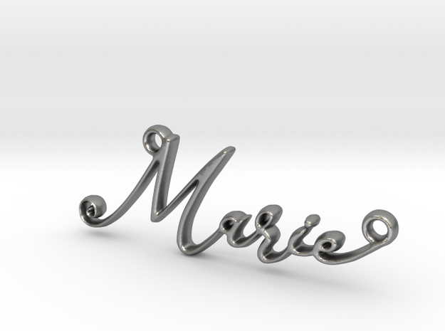 Marie First Name Pendant in Natural Silver