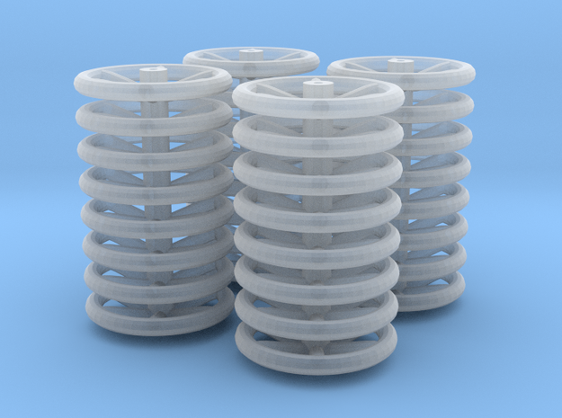 6-spoke Brake Handwheels for 4mm:1ft (x8 x4) in Smoothest Fine Detail Plastic