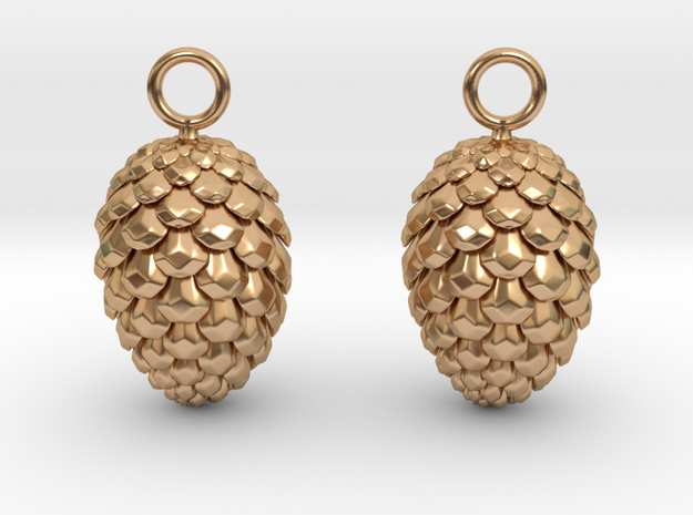 Pinecone Earrings in Polished Bronze