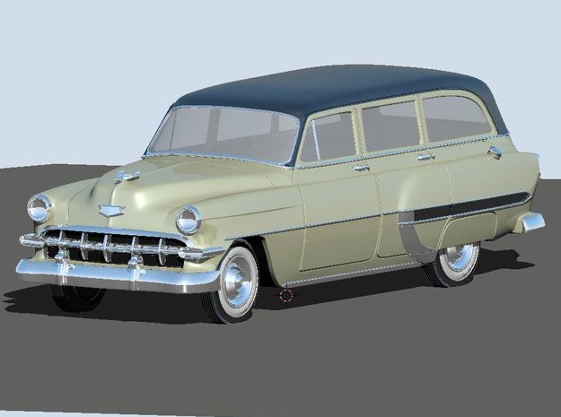 1954 Chevy Wagon Bel-air in White Natural Versatile Plastic